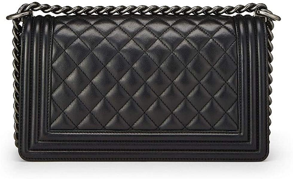 b7b1e522c283 CHANEL Black Quilted Calfskin Boy Medium (Certified Refurbished). Back.  Double-tap to zoom