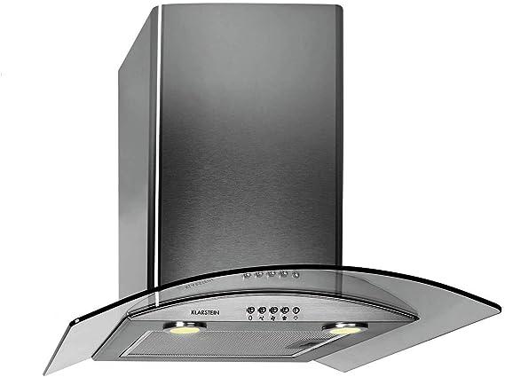 Klarstein GL60WSB - Campana extractora de acero (integrada, 60 cm, iluminación conmutable, cristal negro, Clase C), negro/gris gris: Amazon.es: Grandes electrodomésticos