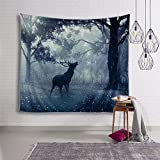 DHSHBNNKQ Retro elk cloth hanging room bedside wall background decoration cloth hanging wall etc.professional rural blanket cloth,American 100X150cm