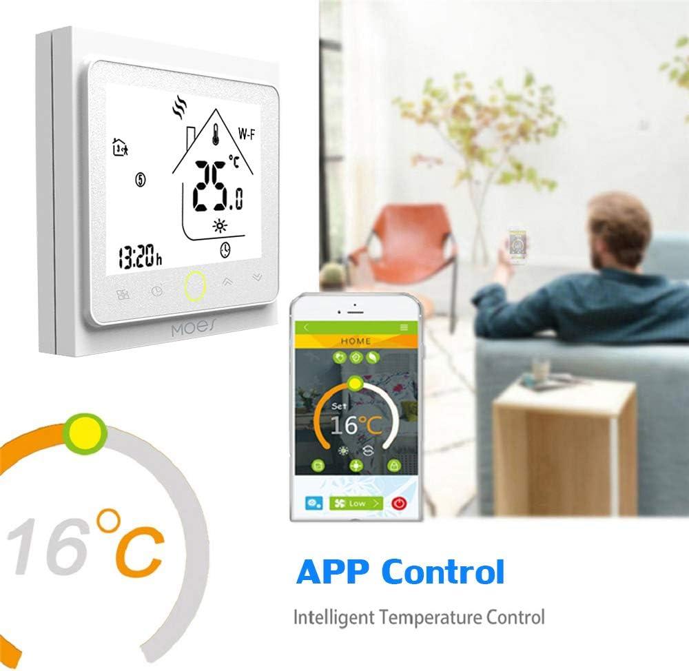 Blanco Ritioner MOES Termostato Inteligente Controlador de Temperatura Intellight 5A Calefacci/ón de Agua para el hogar Sin Wi-Fi