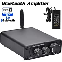 Bluetooth 5.0 Stereo Audio Amplifier Receiver 2 Channel Class D Mini Hi-Fi Integrated Amp for Home Speakers 50W x 2 TPA3116 - Fosi Audio BT10A