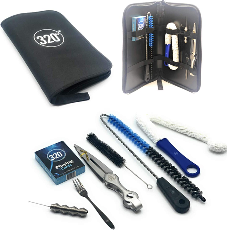 320º Hookah Shisha Essentials Kit de viaje – Cepillos de limpieza, pinzas, poker agujero, tenedor, cartas de juego