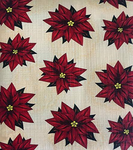 Lintex Poinsettia Medallion PEVA Non Toxic, Non PVC Vinyl Floral Christmas Tablecloth - PEVA Flannel Backed Holiday Tablecloth, 60 Inch x 102 Inch -