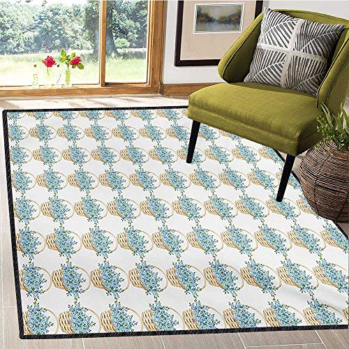 Ivory and Blue, Girls Bedroom Rug, Wicker Basket Design with Spring Season Blooming Flowers, Children Kids Nursery Rugs Floor Carpet 5x6 Ft Pale Blue Ivory and Green