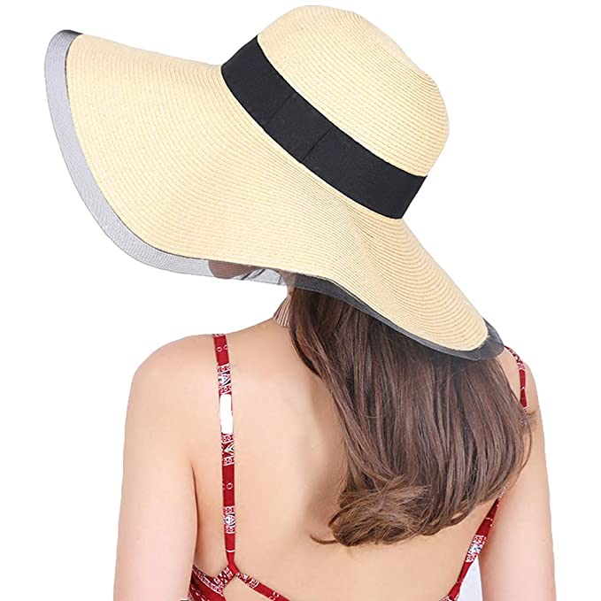 Taylormia Womens UPF 50+ Straw Hat - Summer Foldable Wide Brim Floppy Sun  Beach Hat 2c0ac29bd74a