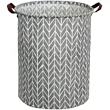 Tsingree Collapsible Laundry Hamper, Round Cotton Linen Laundry Basket, Large Storage Bin for Nursery Hamper and Kids…