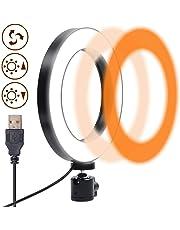 Ring Light, Gemwon Anello luminoso a LED Dimmerabile con Modalità a 3 Luci, Illuminazione Morbida da 6 Pollici/15cm per Selfie, Trucco, Riprese Video di YouTube e Fotografia, Alimentazione USB
