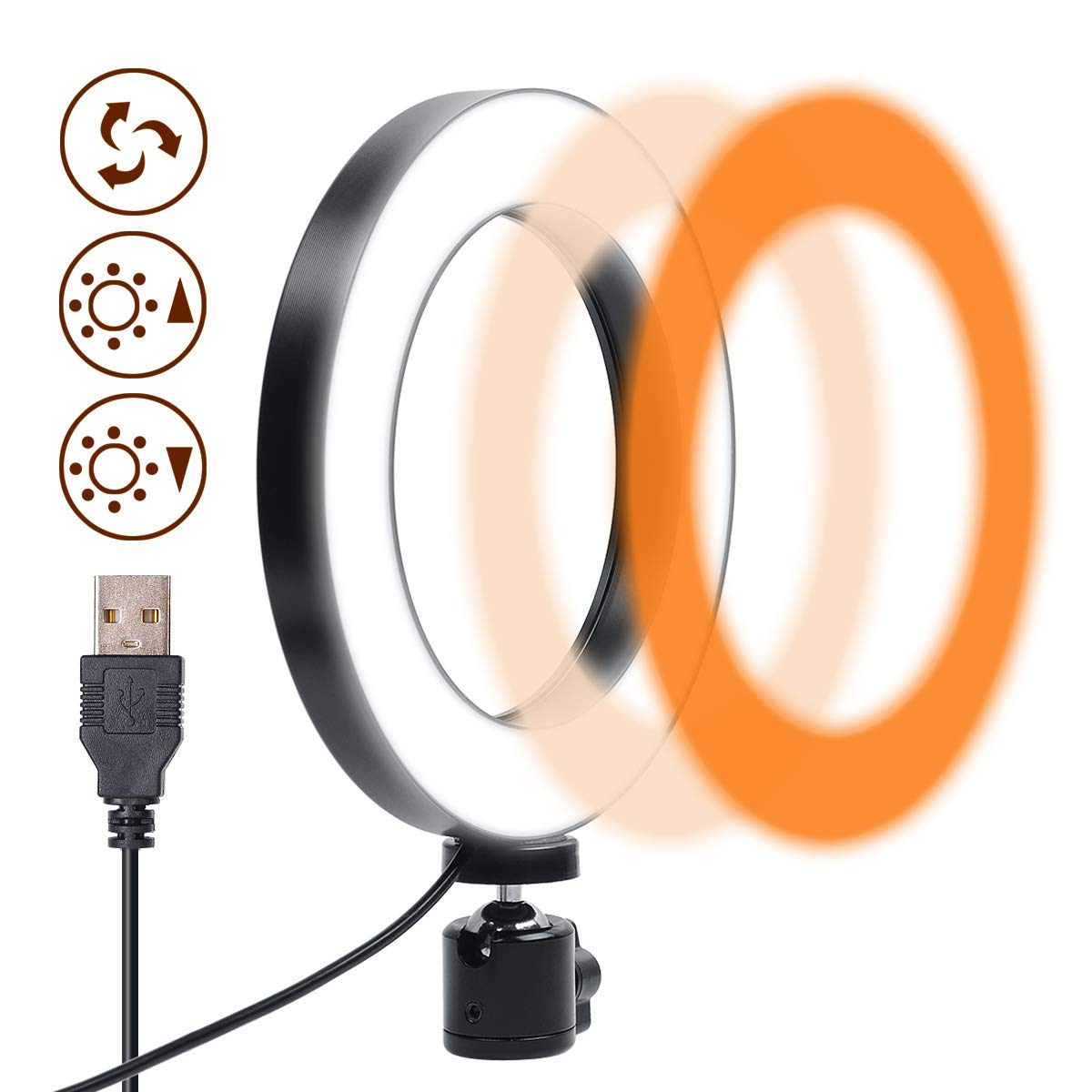 Gemwon Ring Light 6 Inches - 3 Color Lights & 10 Dimmable Brightness, Premium LED Makeup Lighting for Streaming, YouTube Video, Photo, Photography, Selfie by GEMWON