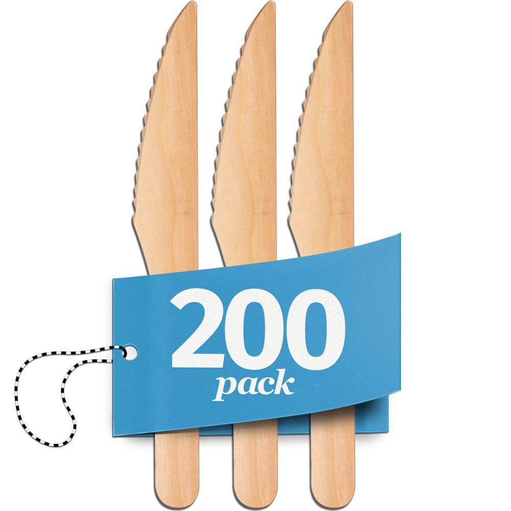 Disposable Wooden Knives - 200 Piece Set - 100% Natural, Eco-Friendly, Biodegradable & Compostable Utensils - Great for Parties, Weddings, BBQs & Dinner Events - By Aevia