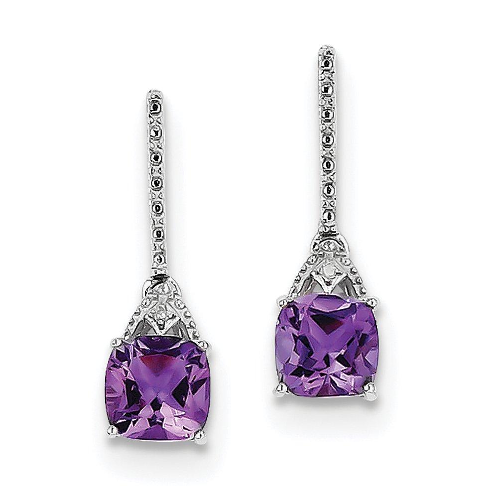 ICE CARATS 925 Sterling Silver Diamond Purple Amethyst Post Stud Earrings Drop Dangle Fine Jewelry Gift Set For Women Heart