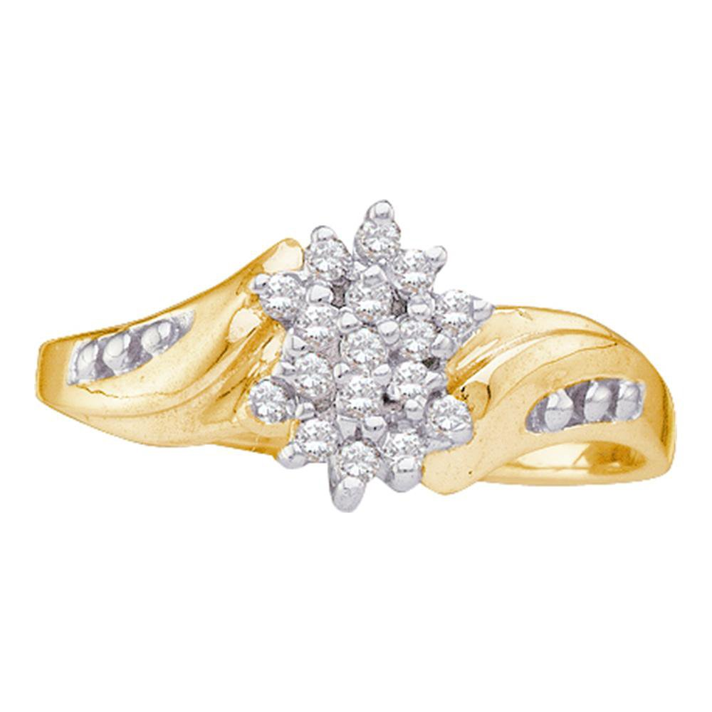 Flower Diamond Cluster Ring Solid 10k Yellow Gold Curve Band Fashion Style Floral Design Polished 1/8 ctw by GemApex