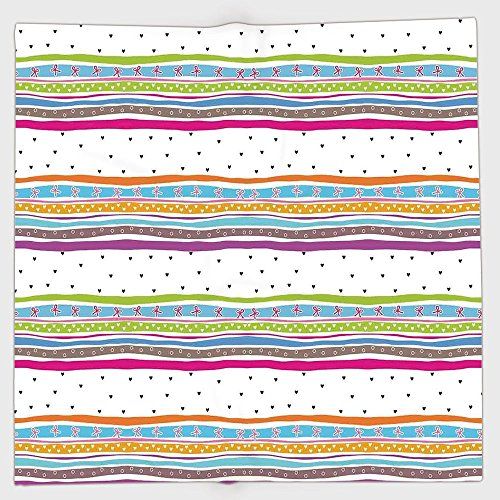 (iPrint Polyester Bandana Headband Scarves Headwrap,Striped,Abstract Wavy Stripes Polkadots Ribbons Bows and Hearts Girly Patterned Artwork,Multicolor,for Women)