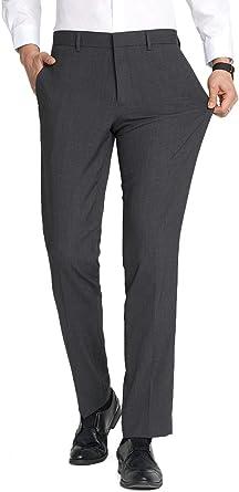 Amazon Com Fly Hawk Pantalones De Vestir Para Hombre Elasticos Ajustados Sin Arrugas Parte Delantera Plana Pantalones Clothing