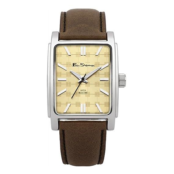 Ben Sherman buenos relojes BS033 de color marrón de la correa de cuero con diseño de imitación de la plaza de la esfera: Ben Sherman: Amazon.es: Relojes