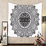 Gzhihine Custom tapestry Mandala Decor Tapestry Chinese Longevity Luck Health and Good Protection Sign Mandala Icon Image for Bedroom Living Room Dorm 80WX60L Black White
