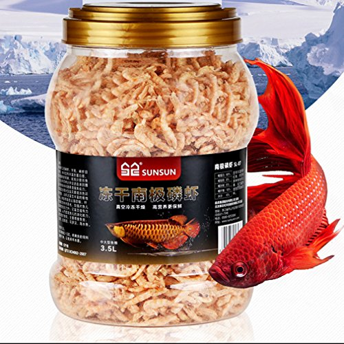 Jacksuper 3500ml Fish Food Aquarium Pond Fish Food Arowana Food Floating Shrimp Freeze Dried Krill Carnivore Koi Tropical Cichlid Turtle (3500ml) (Best Food For Arowana Fish)