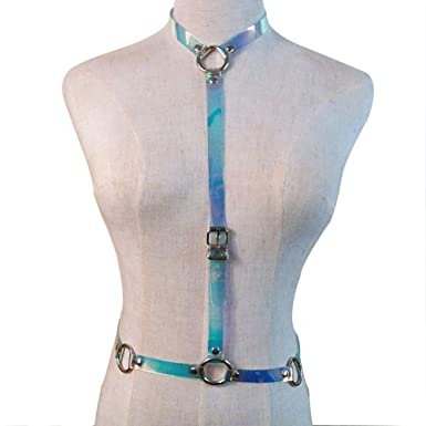 e456ed21fd6 Image Unavailable. Image not available for. Color  Women s Punk Waist Belt  Sexy Body Chain Faux Leather Harness Adjustable ...