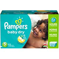 112 Count Pampers Size 5 Baby Dry Diapers