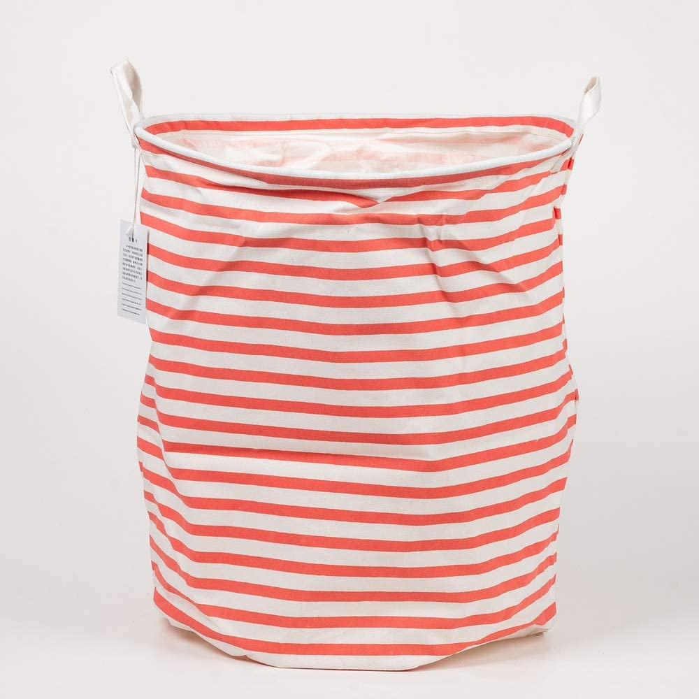 CJSIR Storage Bin, 19.7 inches Round Canvas Fabric Collapsible Organizer Basket for Laundry Hamper, Bedroom, Clothes, Baby Nursery Waterproof Toy Gift Baskets (Red Stripe)