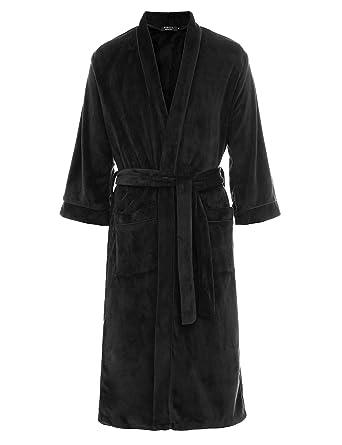 FISOUL Bata Baño para Hombre de Forro Polar Suave Cuello de Felpa Chal Kimono Batas de