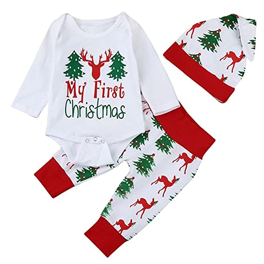 a5ecc07df45 Amazon.com  Christmas Outfit Set Newborn Baby Boys Girls Deer Printed Romper  Long Pants Hat 3Pcs Clothes Set  Clothing