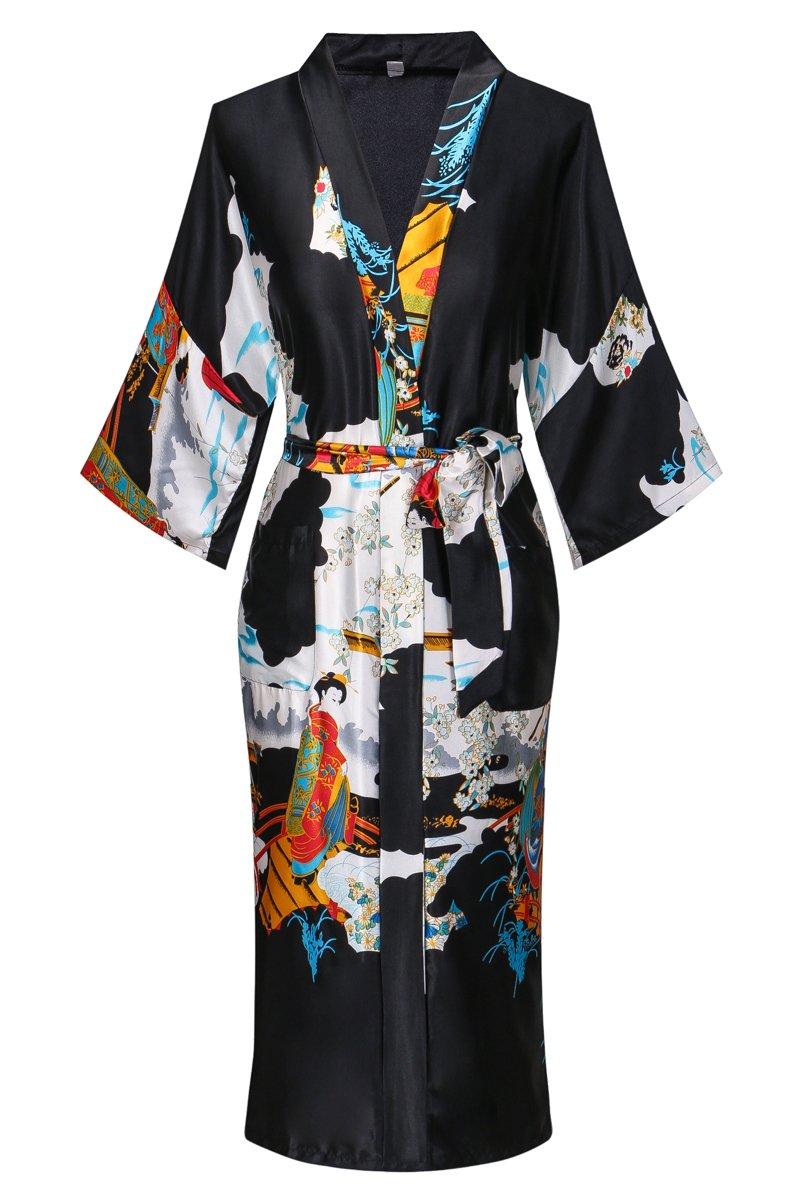 Dandychic Women's Kimono Robes Pagoda Print Kimono Imitation Silk Long Style X-Large Black