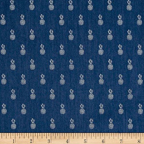 - TELIO Denim Stretch Chambray Shirting Pineapple Print on Fabric by The Yard, Navy Blue