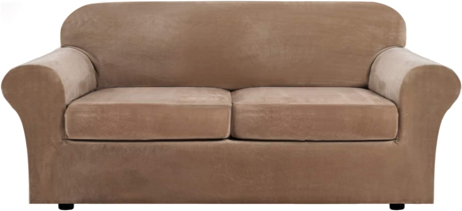 H.VERSAILTEX Real Velvet Plush 3 Piece Stretch Sofa Cover Velvet-Sofa Slipcover Sofa Cover Furniture Protector Couch Soft Sofa Slipcover for 2 Cushion Couch with Elastic Bottom(Sofa, Camel)