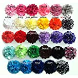 Yazon 20pcs 2 inch Satin Mesh Hair Flower Fabric Flower for Clips Headbands Clothing Dress