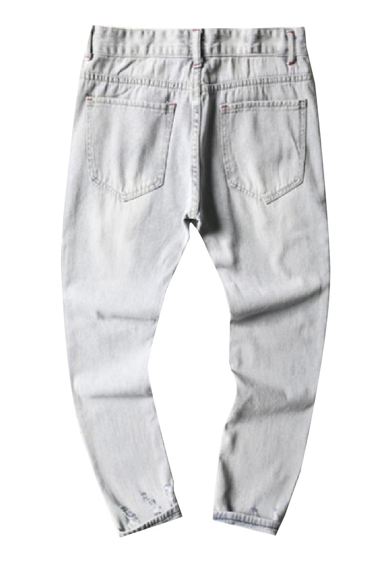 ANDYOU Men's Comfort Fine Cotton Casual Loose Holes Stylish Denim Pants White 3XL by ANDYOU-Men (Image #2)
