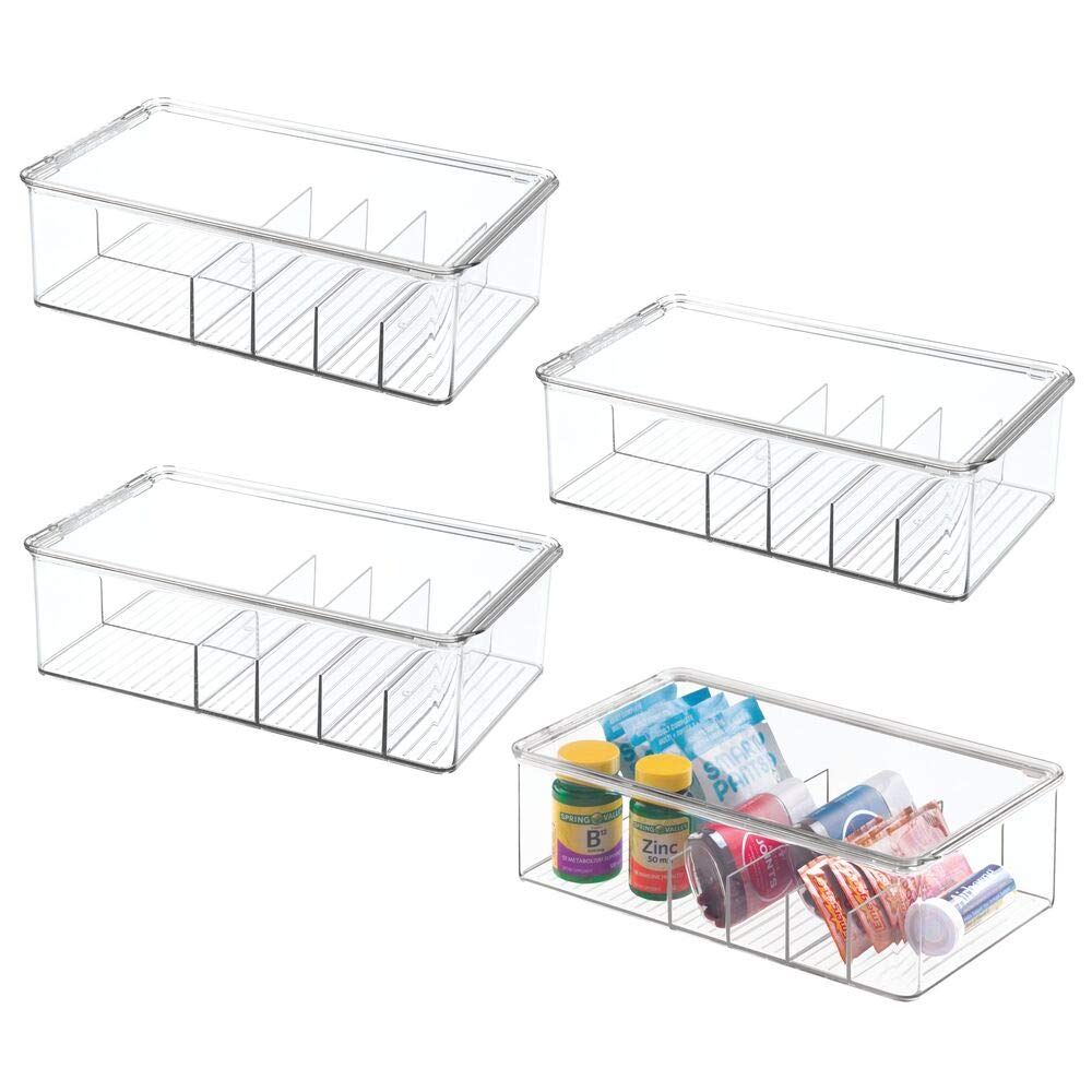 mDesign Stackable Plastic Storage Bin Box with Lid - Divided Organizer for Vitamins, Supplements, Serums, Essential Oils, Medicine Pill Bottles, Adhesive Bandages, First Aid Supplies - 4 Pack - Clear