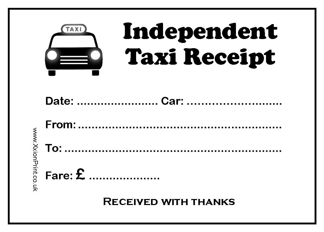 Independent Taxi or Minicab Driver Fare Receipt Pads (10 Pads) - In ...