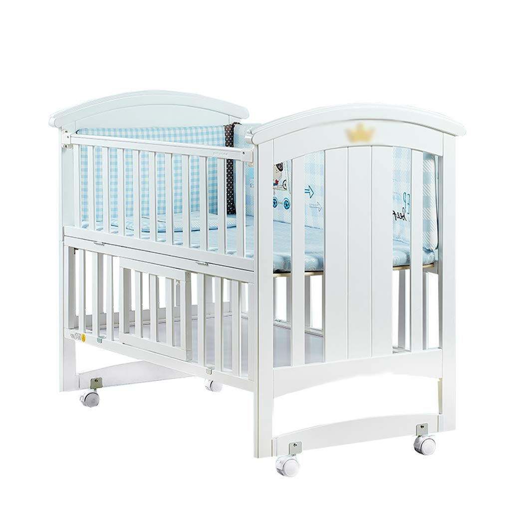 Crib Baby Cot Solid Wood Multifunction Splicing Bed Cradle Bed European Style (Color : White, Size : 12068100cm)