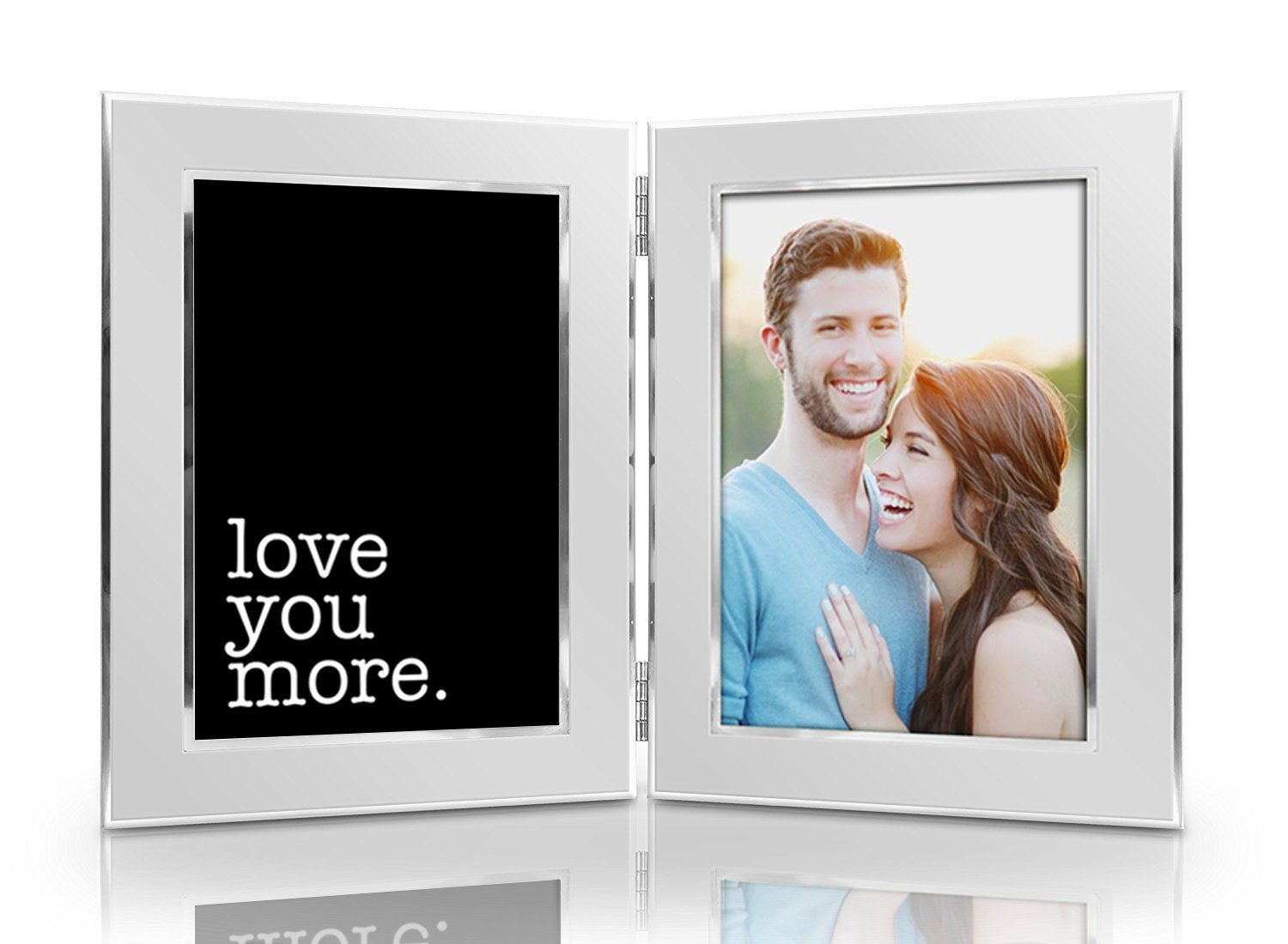 Humor Us Home Goods Love You More Picture Frame Set - Premium Double Hinged Photo Frames - Gift for Dad, Husband, Grandpa, Men - Perfect Present for His Birthday, Father's Day, Christmas
