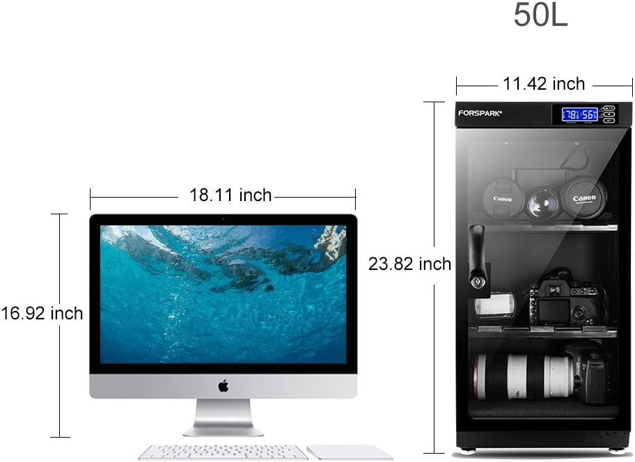 Storage For Camera Lens /& Electronic Equipment Storage FORSPARK 50L Electronic Automotic Digital Control Dry Box-Noiseless /& Energy Saving