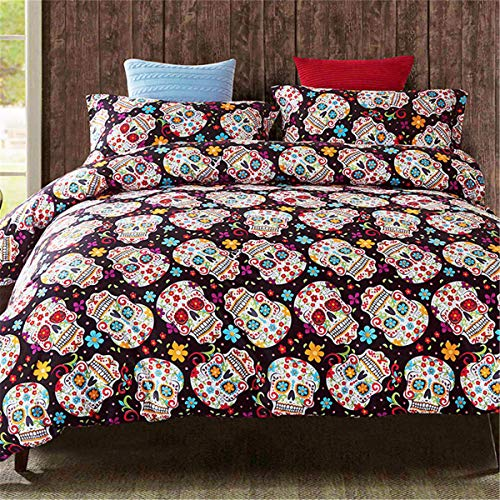 Sugar Skull Duvet Cover Set Queen 3D Printed Reversible Gothic Skull Bedding Set Soft Microfiber Comforter Cover with Zipper Closure and 2 Pillowcases for Home Decor (3Pcs, Queen) 90