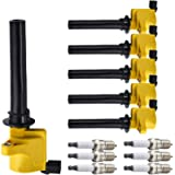 ENA Platinum Spark Plugs and Heavy Duty Ignition Coils Set compatible with Mazda Tribute and Mercury Sable 2000-2009…
