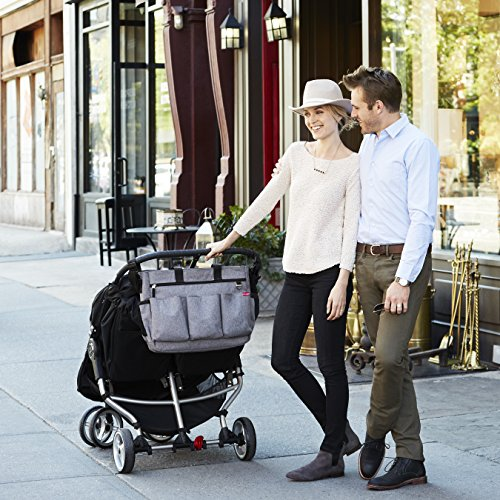 Image of the Skip Hop Duo Double Signature Carry All Travel Diaper Bag Tote with Multipockets, One Size, Heather Grey
