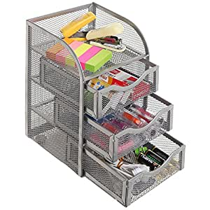 Amazon Com Silver Metal Wire Mesh 3 Slide Out Drawers