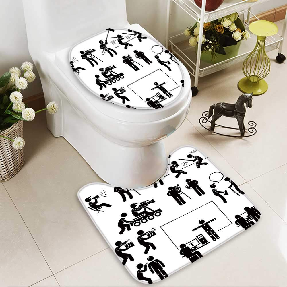 Bathroom Non-Slip Floor Mat Director Making Filming Movie Production Actor Stick Figure Pictogram Icon with High Absorbency