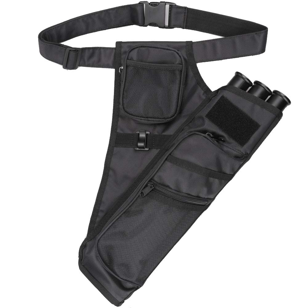 XTACER 3 Tube Hip Quiver Hunting Training Camo Archery Arrow Quiver Holder Bow Belt Waist Hanged Target Quiver (Black -3 Tube)