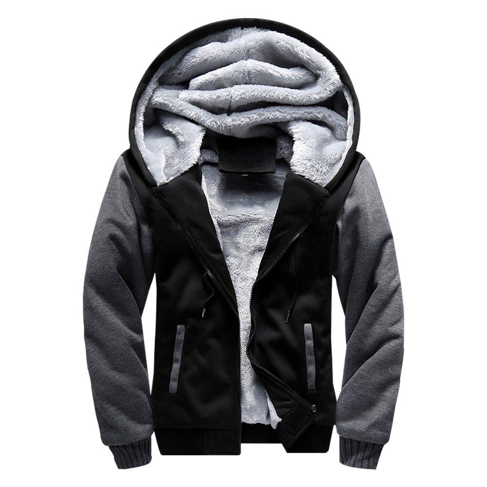 ASALI Men's Pullover Winter Jackets Hooed Fleece Hoodies Wool Warm Thick Coats Black M#02