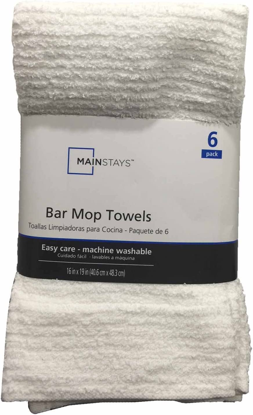 Mainstay Bar Mop Towels 6 Pack White Amazon Co Uk Kitchen Home