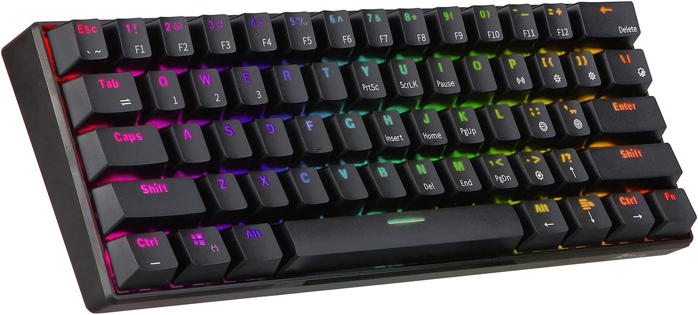 Gaming Keyboard Wireless Bluetooth Mechanical Gaming Portable 60/% Keyboards 61 Keys RGB Single Backlit Backlight Blue Brown Red Switch Keyboard Axis Body : Brown Switch, Color : RGB Version Black