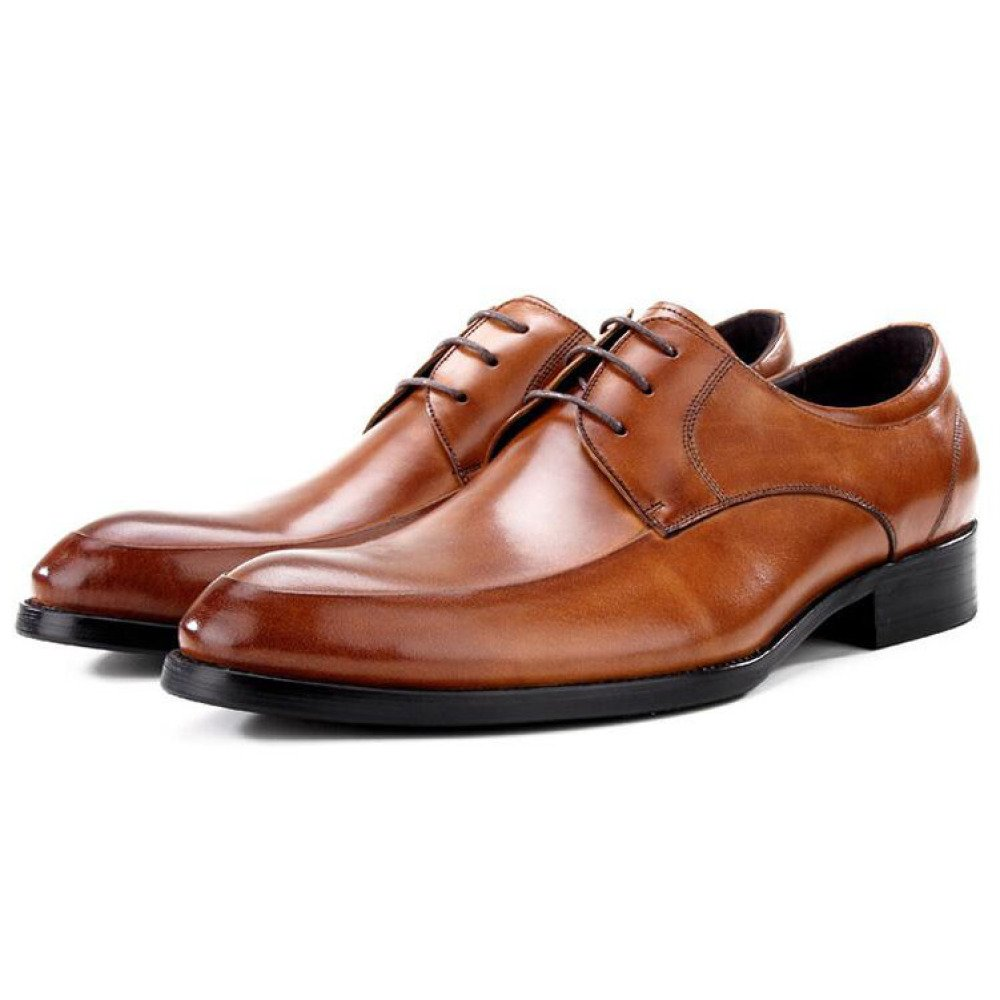 QSCG Herren Lederschuhe Business Schnür-Kleid Schuhe Casual Braun Hochzeit Derbys Smart Schuhe Braun Casual bd0046