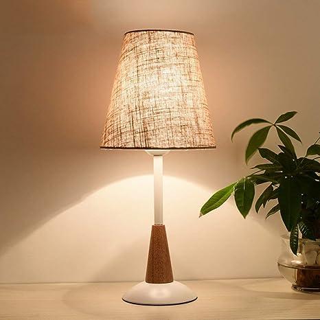 Lámpara de mesa de madera nórdica Continental flash LED luz ...