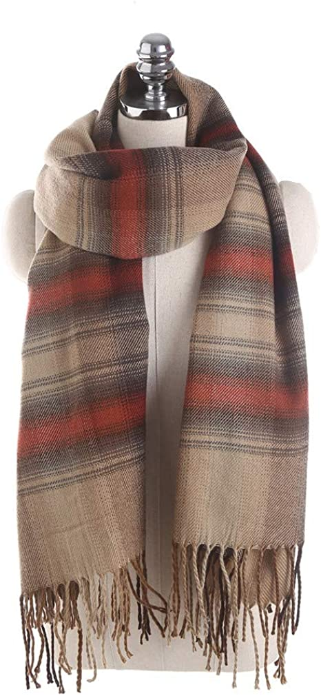 TALLA 175cmmore than. AiNaMei Señoras otoño e invierno rayas horizontales borla bufanda caliente