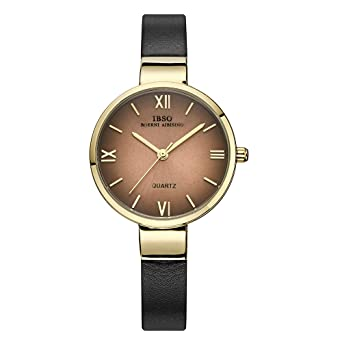 IBSO Women Watches Narrow Genuine Leather Strap Quartz Watch Girls Fashion Ultra-thin Wristwatches (