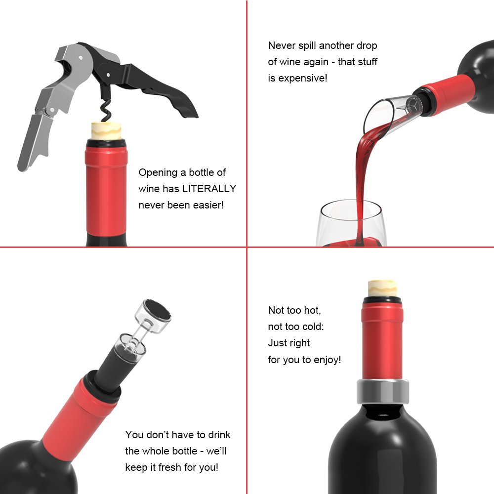 Gifts for Wine Lovers Accessory Set – Includes a Corkscrew, Wine Vacuum Stopper, Wine Ring and Wine Pourer – by WINEOAK