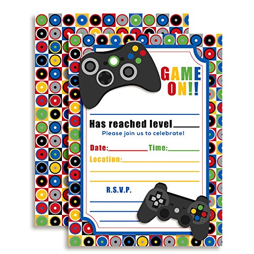 Game On! Video Gamer Birthday Party Fill In Invitations, Ten 5''x7'' Fill In Cards with 10 White Envelopes by AmandaCreation by Amanda Creation